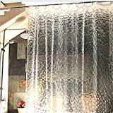S-ZONE 3D Effect Water Cube Mildew Proof Water Proof Shower Curtain 72x78 Inch, 100% EVA Bathroom Curtain with Curtain Hooks