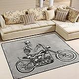 ingbags Super Weich Modern Skull Motorrad, ein Wohnzimmer Teppiche Teppich Schlafzimmer Teppich für Kinder Play massiv Home Decorator Boden Teppich und Teppiche 160x 121,9cm, multi, 63 x 48 Inch