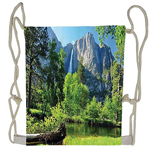 Upper Yosemite Falls Cliff Yosemite National Park California Panoramic Picture Drawstring Tote Bag Cinch Gym Bags Storage Backpack for Boys Girls