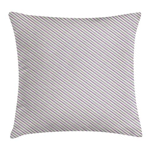rongxincailiaoke kissenbezüge Purple and Grey Diagonal Wavy Stripes Design Abstract Ornate Herringbone Zigzags, Decorative Square Accent Pillow Case, 18 X 18 Inches, Grey Cream and Purple -
