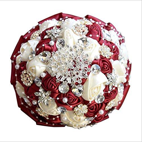 Handgemachte Diamanten Perle Satin Rose Brautjungfern Braut Künstliche Blumensträuße Koreanische Europäische Hochzeitsgeschenke Hochzeit Liefert ( Color : Rot )