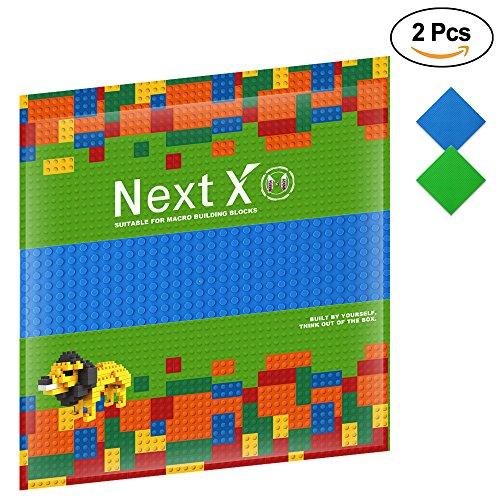 NextX 2 piezas de base plancha para classic construir game plastico bases placa 25 x 25 cm - Verde+Azul