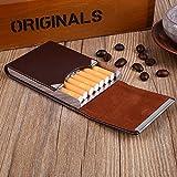 Hongfei Cigarette Box, étui à cigarettes en cuir PU Classique Cigarette Tabac Boîte à cigarettes cadeau (café)