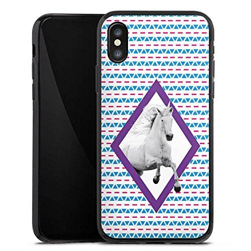 Apple iPhone X Silikon Hülle Case Schutzhülle Unicorn Einhorn Hipster Muster Silikon Case schwarz