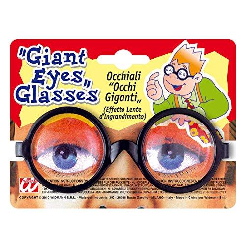 Amakando Große Augen Brille Nerd Spaßbrille Lupenbrille Scherzartikel Dicke Gläser Doktorbrille Riesenaugen Faschingsbrille Doktor Scherzbrille