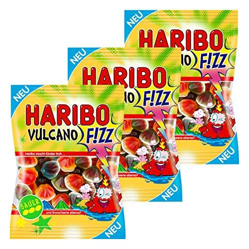 Haribo Vulcano Fizz, Sauer, Fruchtgummi, Gummibärchen, Weingummi, Süßigkeit, Tüte, 525g