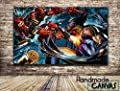 Deadpool Vs Wolverine Comic Book Handmade Canvas Print Framed Art Ready To Hang