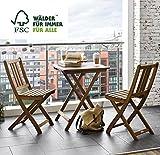 SAM Gartengruppe Taastrup, 3tlg, Akazienholz-Balkongruppe,FSC 100% Zertifiziert,1 Tisch + 2 Stühle,Garten-Tischgruppe