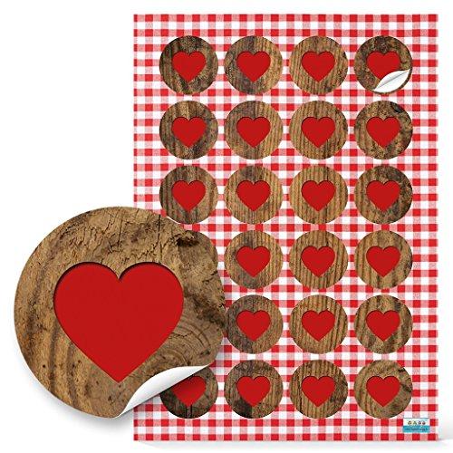 48 kleine runde HERZ AUFKLEBER Herzaufkleber 4 cm ROT braun Bayern bayerisch Geschenkaufkleber Geschenk-Verpackung give-away Papiertüten zukleben basteln Hochzeit Holz-Optik Sticker Etiketten