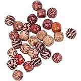 Baoblaze 100 stuks 10-17 mm bedrukte kralen van hout, groot gat voor het knutselen van sieraden - 12 mm