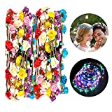 Funpa LED Flower Headband, 7Pcs Flower Garland Headband Floral Wreath Flower Crowns Flower Headdress For Women Girls Hair Festival Accessories Christmas Halloween Party