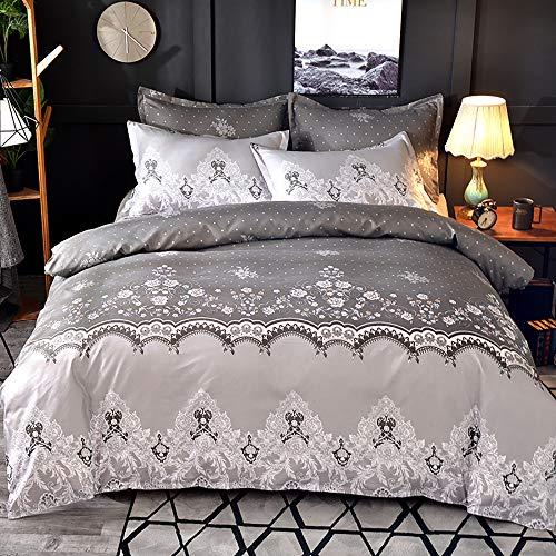 et Vintage Ethno Blumen Musterdesign mit Reißverschluss, Bettbezug 220 x 240 cm + 2 x Kissenbezügen 50 x 70 cm, Super Weiche Modernes 3 TLG. Bettwäsche Set - Grau ()