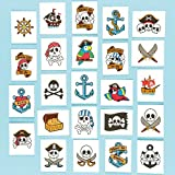 Pirate Theme Temporary Tattoos for Children. Party Bag Filler & Gift Idea for Kids (Pack of 24)