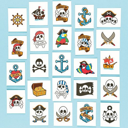 Abwaschbare Tattoos - Piraten - für Kinder zum Aufkleben - toll als Mitgebsel und Preis beim Kindergeburtstag - 24 (Tattoos Piraten)