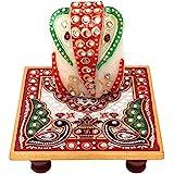 GiftNagri Handcrafted Kundan Meenakari Work Export Quality 4 * 4 Inches Marble Chowki Ganesha