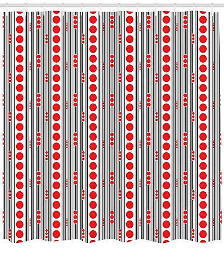 r Curtain, Vertical Black Stripes and Big and Small Circles Minimal Lattice Grid, Cloth Fabric Bathroom Decor Set with Hooks, 60 * 72inch Long, Vermilion Black White ()