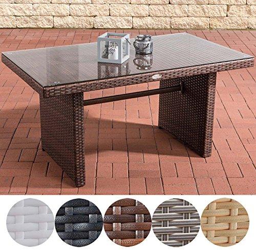 CLP Poly-Rattan Garten-Tisch FISOLO ca 140 x 80 cm, Höhe: 66 cm, ALU-Gestell, Glasplatte 5 mm Sicherheitsglas braun-meliert