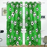 COOSUN Hintergrund mit Fußball Tor und Fußball Blackout Vorhänge Verdunkelung thermische isoliert Polyester Tülle Oben Blind Vorhang für Schlafzimmer, Wohnzimmer, 2 Panel (55 x 84 l Zoll)