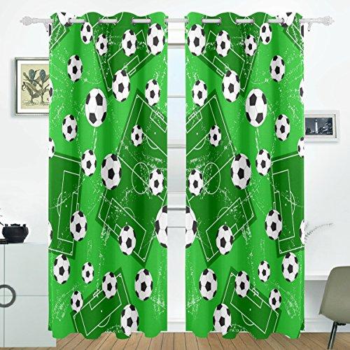 COOSUN Hintergrund mit Fußball Tor und Fußball Blackout Vorhänge Verdunkelung thermische isoliert Polyester Tülle Oben Blind Vorhang für Schlafzimmer, Wohnzimmer, 2 Panel (55 x 84 l Zoll) (Vorhänge 84 Oben Tülle)