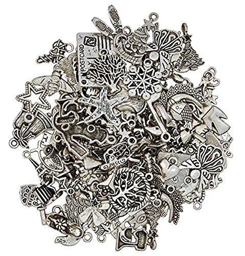 Runfon Silber Zinn Charms Anhänger Mega Mix DIY für Schmuckherstellung und, 100 100% Neu (Zinn-anhänger Auto)