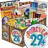Forever 29 + | Geschenk Spezialitäten | Geschenk Set | Forever 29 + | inkl Markenbuch | DDR Geschenke | Geschenk zum 30. Geburtstag Frau | mit Filinchen Knusper, Gurken Snack Get One und mehr
