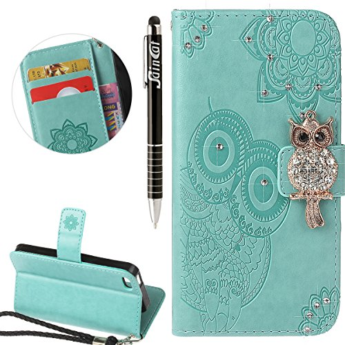 Coque iPhone 5S, iPhone SE Coque Portefeuille, SainCat Ultra Slim Flip Cover pour iPhone 5/5S/SE, Bling Bling Glitter Strass Diamant Bookstyle Etui en PU Cuir Coque Etui Cuir Anti-Scratch Cover Coque  Vert