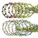 12 Pezzi Corona del Fiore Fasce Floreali della Ghirlanda per Matrimonio Spiaggia Festival (Multicolore)