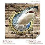 GRAZDesign Fliesensticker Küche Hai - Bad Fliesen Aufkleber Bullauge - Fliesenbilder Küche Holzoptik - Fliesenaufkleber glänzend/Fliesenmaß: 20x20cm (BxH) / 768239_20x20_60