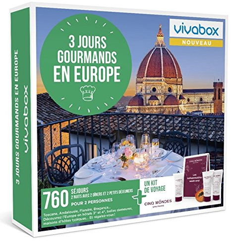 Vivabox - Coffret cadeau couple - 3 JOURS GOURMANDS EN EUROPE - 760 week-ends + 1 kit...