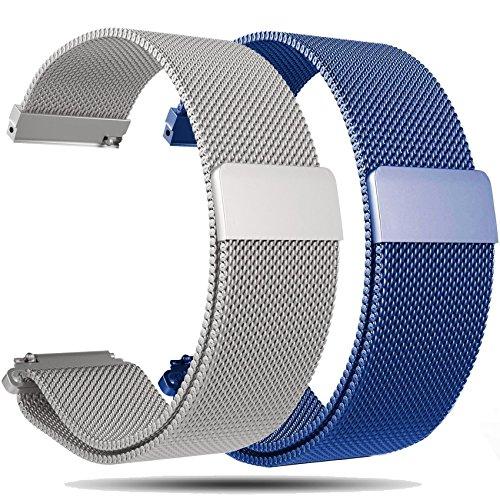 Ruentech Ersatz-Uhrenarmband für Huawei Watch (W1), 18 mm, Metall, Milanaise-Armbänder, für Huawei W1 Armbänder, 2PCS- Blue & Silver
