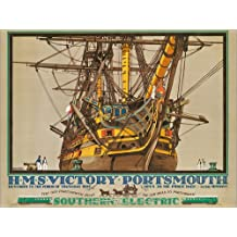 Alu Dibond 80 x 60 cm: H.M.S. Victory, Portsmouth, poster advertising Southern Electric Railways de Kenneth Shoesmith / Bridgeman Images