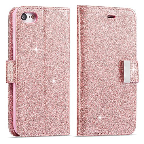 Price comparison product image For iPhone 6S Plus Wallet Case,  iPhone 6 Plus Leather Cover,  Luxury Shiny Sparkle Glitter Bling PU Leather [Magnetic Closure][Metal Buckle] Flip Kickstand Wallet Case with 5 Card Slots-Rose Gold