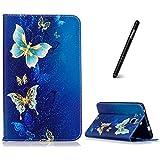 Galaxy Tab A 7.0 Hülle,Slynmax Schutzhülle Tasche Golden Schmetterling Brieftasche Ledertasche Flip Case Magnetverschluss Stand Kompatibel mit Samsung GALAXY Tab A 7.0 Zoll T280/T285 Tablet, Blau