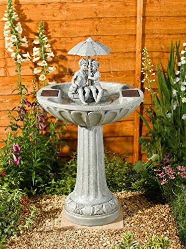 XL 83 cm Solar Wasser Spiel Garten Brunnen Deko Springbrunnen Zier Brunnen Garten Dekoration (Regenschirm)