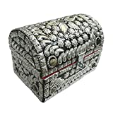 Cofanetto bauletto portagioie stile forziere dei pirati in legno con pietre d'Agata artigianato indiano accessori decorazione casa
