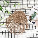 Frauen Kreis Stroh Taschen Sommer Strand Quasten Weibliche Schulter Beutel Dame Casual Handmade Weave Round Crossbody SS3108 Khaki