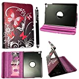 STYLEYOURMOBILE {TM} APPLE IPAD MINI PU LEATHER MAGNETIC FLIP CASE COVER + SCREEN PROTECTOR + STYLUS (Ultra Butterfly Purple)