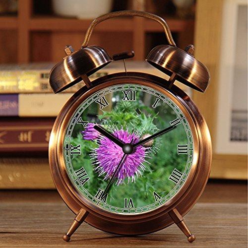 Wecker, Retro Portable Twin Bell neben Wecker mit Nachtlicht 628.Thistle, lila Blume, scharfe Stacheln, Natur, Frühling (Wecker Blume)