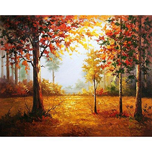 jynxos rahmenlose Fantasy Forest Herbst Landschaft DIY Malen nach Zahlen Bild auf Wand handgemalt Ölgemälde auf Leinwand für Kunstwerke 16*20inch (40*50CM) Frameless -