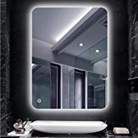 Turefans Miroir de Salle de Bain,Miroir LED, Blanc Froid (6400K) + 5050LED + étanche + Interrupteur Tactile, 50 * 70cm