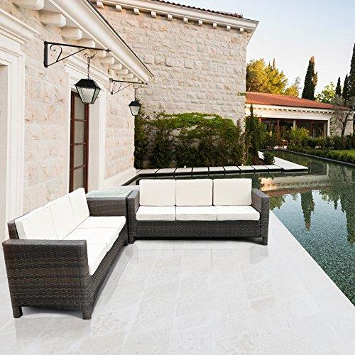 Rattan set mobili da giardino con divano ad angolo per for Mobili giardino sconti