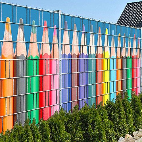 *Buntstiftreihe – Zaun Sichtschutzstreifen für Doppelstabmatten inkl. Klemmschienen*