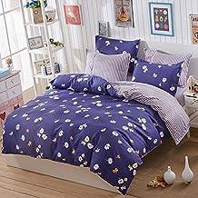 Zhiyuan Fundas de edredón funda de almohada con patrón de flor blanca, Cama de 90cm, Pizarra azul