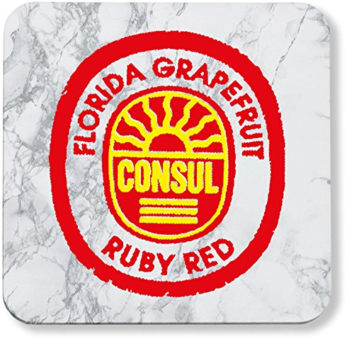 Hippowarehouse Florida Gfruit Consul Ruby Red Label pack of 2 coasters gloss finish durable backing 9cm x 9cm