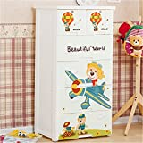TheTickleToe DIY 5 Layers Thickened Fiber Plastic Wonderful Life Cartoon Chest Of Drawers For Kids - Two Locks, White