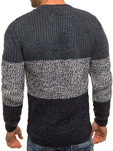 OZONEE Herren Strickjacke Pullover Strickpullover Sweats Gestreift Strick MADMEXT 1551 Grau