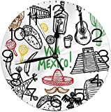 Orologi da parete rotondi Decorativi per la casa Schizzo messicano Oggetto latino con bottiglia di tequila alla chitarra Burritos e Pinata Quetzal Coati, Multicolor, Diametro 9,8 '25 cm, Natale
