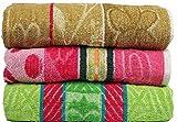 #5: Casa Basics 400 GSM Set Of 3 Jacquard Large Bath Towels 68 X 137 cm- Brown,Pink & Green