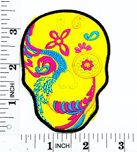 Yellow Skull Art Skull Patterns Beautiful Design Rider Biker Motorcycle Patch Hand Embroidered Iron-on And Sew-on Symbol Jacket T-shirt Patches Applique Accessories