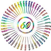 [Les stylos gel] Ohuhu® 60 Couleurs Gel Pen Set / Dessin Stylos/Stylo à Bille/Stylo Roller/ Stylos à Bille à Encre Gel pour le Livre de Coloriage, Croquis, Dessin, Peinture et Ecriture